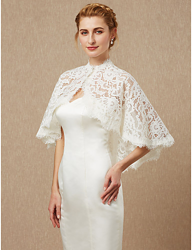 cheap Wedding Wraps-Sleeveless Lace Wedding / Party / Evening Women's Wrap With Lace / Button Capelets