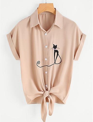 billige Dametopper-Skjortekrage Skjorte Dame - Dyr Vintage Gul / Snøring