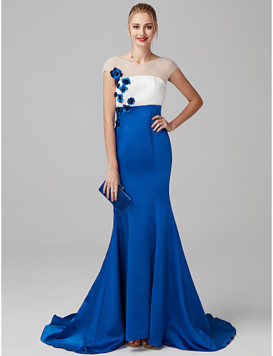 c130cb3c45b Mermaid   Trumpet Illusion Neck Sweep   Brush Train Satin   Tulle Prom   Formal  Evening Dress with Flower   Color Block by TS Couture®  06390258