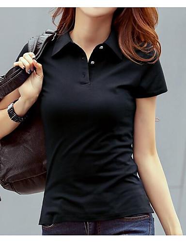 billige Dametopper-Skjortekrage Polo Dame - Ensfarget Gatemote Ut på byen Svart