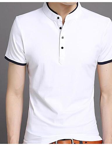 preiswerte Heißer, weißer Sommer-Herrn Solide - Grundlegend / Street Schick T-shirt, Ständer Schwarz / Kurzarm
