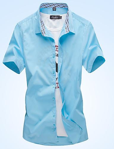 Bomull Skjorte Herre - Ensfarget / Rutet Forretning / Grunnleggende Arbeid / Strand Lysegrønn / Kortermet