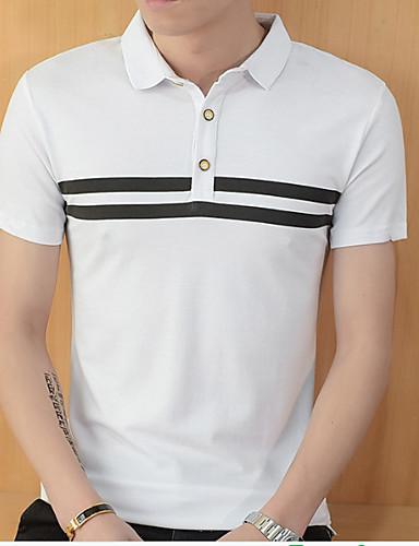 levne Pánská polo trika-Pánské - Proužky Základní Větší velikosti Polo, Tisk Štíhlý Bílá / Krátký rukáv