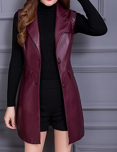 cheap Women's Furs & Leathers-Women's Shirt Collar Spring Trench Coat Regular Solid Colored Daily Basic Black Red L XL XXL