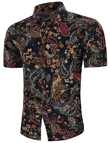 voordelige Uitverkoop-Heren Vintage / Boho Print Grote maten - Overhemd Linnen Paisley / Tribal Zwart / Korte mouw / Zomer