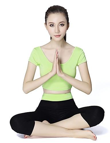 povoljno Vježbanje, fitness i joga-Žene Scoop Neck Yoga hlače s vrhom Ljubičasta Svijetlo zelena Fuksija Burgundac Crvena Modal Zumba Trčanje Fitness Sportska odijela Veći konfekcijski brojevi Kratkih rukava Sport Odjeća za rekreaciju