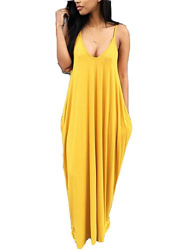 preiswerte Damenbekleidung-Damen Festtage Ausgehen Boho Lose T Shirt Kleid Solide Maxi Gurt / Sexy