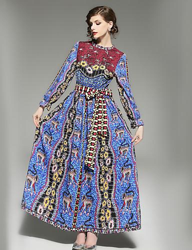 preiswerte Ausverkauf-Damen Ausgehen Grundlegend Aufflackern-Hülsen- A-Linie Kleid - Druck, Geometrisch Maxi Ständer
