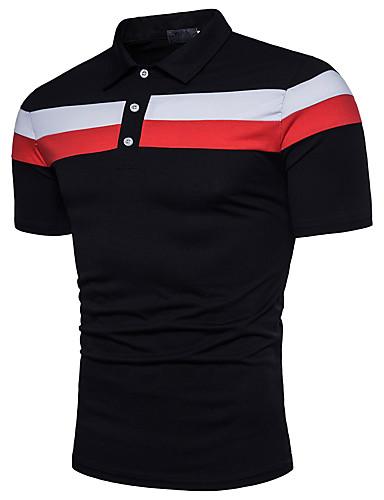 levne Pánská polo trika-Pánské - Barevné bloky Aktivní Polo, Základní Bavlna Košilový límec Bílá / Krátký rukáv / Léto