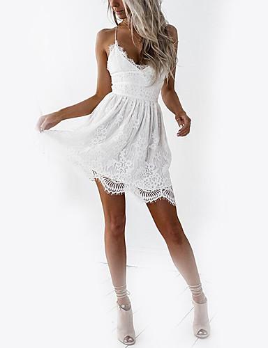 preiswerte Kleider zum Reinschlüpfen & Tops-Damen Festtage Klub Grundlegend Schlank A-Linie Kleid - Spitze, Solide Mini V-Ausschnitt Gurt Hohe Taillenlinie Weiß / Rückenfrei / Sexy