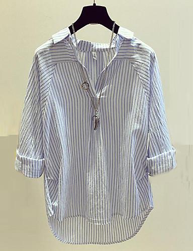 billige Dametopper-Bomull V-hals Skjorte Dame - Stripet Gatemote Ut på byen / Arbeid Blå / Vår / Sommer / fin Stripe