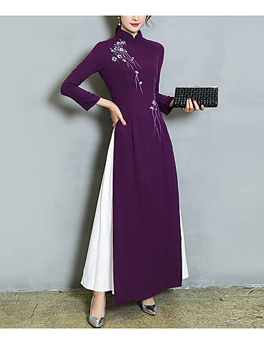 cheap Women's Dresses-Women's Maxi Sheath Dress - Long Sleeve Patchwork Fall Winter Chinoiserie Party Going out Blue Purple M L XL XXL
