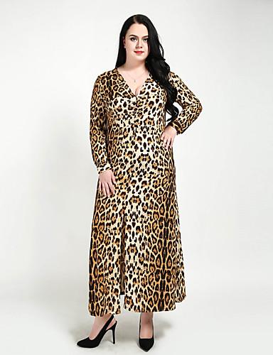 levne Maxi šaty-Dámské Větší velikosti Klub Vintage A Line / Shift / Pouzdro Šaty - Leopard, Nabírané šaty / Rozparek Maxi Do V / Sexy