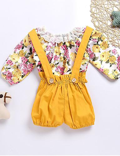 preiswerte Ausverkauf-Baby Mädchen Einfach / Freizeit Alltag Blumen Stilvoll Langarm Standard Standard Baumwolle Kleidungs Set Gelb