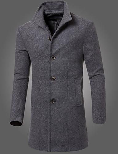 Buenos precios comprando ahora reputación confiable [$26.39] Hombre Vintage Largo Abrigo Cuello Alto - Un Color