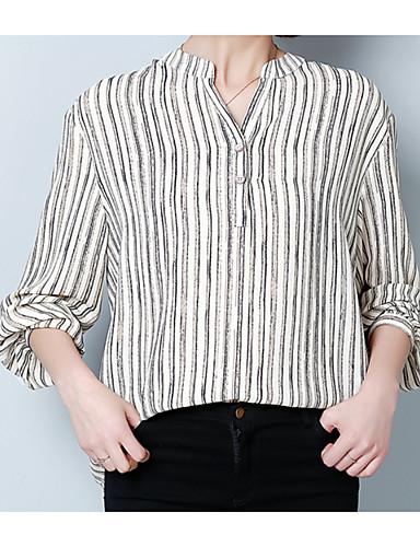 billige Dametopper-V-hals Bluse Dame - Stripet, Trykt mønster Grunnleggende Ferie Svart / Vår / Sommer / fin Stripe