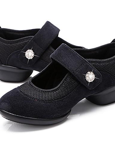 billige Shoes & Bags Must-have-Dame Dansesko Lerret / Tyll Dansesko Krystall / Rhinstein Joggesko Tykk hæl Kan spesialtilpasses Svart