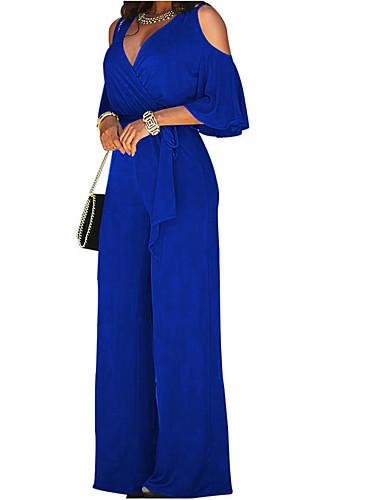 זול סרבלים ואוברולים לנשים-אביב שרוול ארוך כותנה L XL XXL לגזור אחיד, סרבלים רגל רחבה שחור יין כחול ים סירה מתחת לכתפיים רגל רחבה בגדי ריקוד נשים