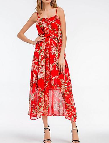 eb2c96ca889f8 Kadın's Boho Salaş Şifon Elbise - Çiçekli Askılı Midi Yüksek Bel / Yaz  6587953 2019 – $18.80
