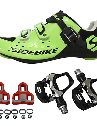 cheap Re11-The Best Winter Cycling Clothes/Related Sale-SIDEBIKE Adults' Cycling Shoes With Pedals & Cleats Road Bike Shoes Nylon Breathable Cushioning Cycling Black Red Green Men's Cycling Shoes / Breathable Mesh / Hook and Loop