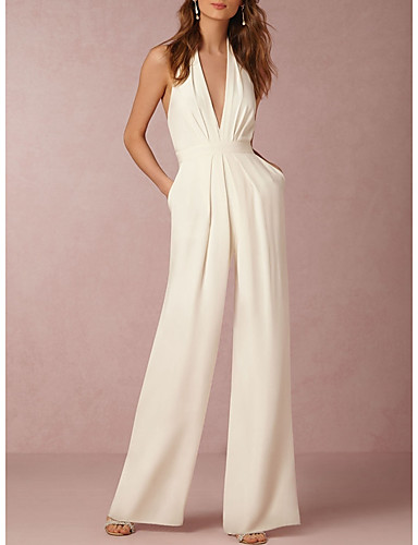 560223c4a63 Women s Wide Leg Backless Daily Sexy Halter Neck White Black Red Wide Leg  Jumpsuit