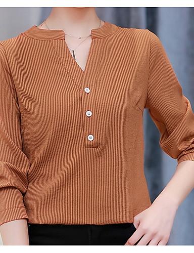 billige Skjorter til damer-Bomull V-hals Skjorte Dame Grunnleggende Ferie Grønn