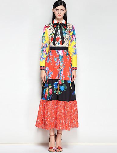 preiswerte Ausverkauf-Damen Boho Baumwolle Schlank Swing Kleid - Grundlegend, Blumen / Einfarbig Maxi Hemdkragen