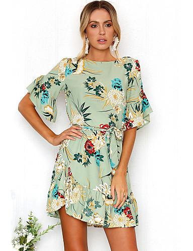 preiswerte Kleider für die Ferien-Damen Ausgehen Strand Boho Aufflackern-Hülsen- Kleid - Rüsche Druck, Blumen Mini
