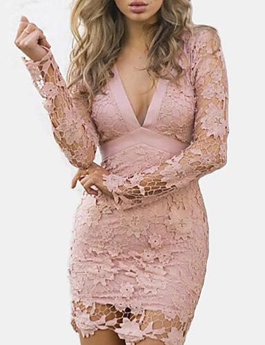 Γυναικεία Εξόδου Κλαμπ Κομψό στυλ street Βαμβάκι Λεπτό Εφαρμοστό Θήκη Φόρεμα - Μονόχρωμο, Δαντέλα Εξώπλατο Με κοψίματα Μίνι Ψηλή Μέση Λαιμόκοψη V Dusty Rose / Σούπερ Σέξι