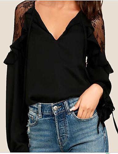eddcf8f37 Mulheres Blusa - Feriado Moda de Rua Renda