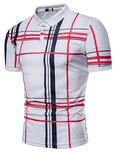 cheap Men's Polos-Men's Plus Size Striped Plaid Print Polo Basic Daily Shirt Collar White / Navy Blue / Gray / Summer / Short Sleeve