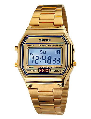 SKMEI Ανδρικά Αθλητικό Ρολόι Ψηφιακό ρολόι Ψηφιακή Ανοξείδωτο Ατσάλι Χρυσό 30 m Ανθεκτικό στο Νερό Συναγερμός Ημερολόγιο Ψηφιακό Κομψό - Χρυσό / Χρονογράφος / LCD