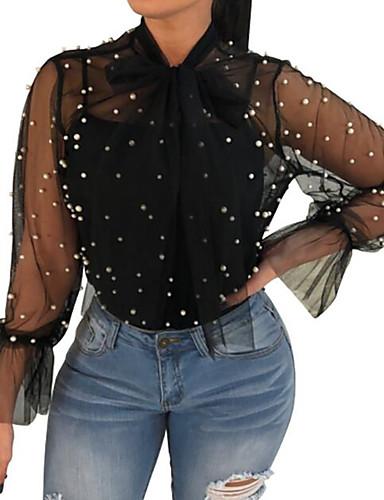 billige Skjorter til damer-Løstsittende Skjorte Dame - Ensfarget, Perler Ut på byen Hvit / Sommer / Ren / Sexy