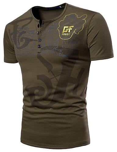preiswerte Militär-Herrn Buchstabe - Grundlegend / Militär Sport Übergrössen T-shirt, Rundhalsausschnitt Druck Weiß / Kurzarm / Sommer