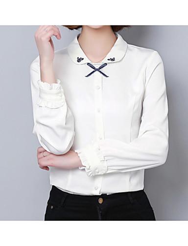 billige Dametopper-Skjortekrage Skjorte Dame - Ensfarget, Broderi Grunnleggende Ferie Hvit / Vår / Sommer