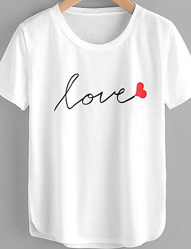 billige Dametopper-Bomull T-skjorte Dame - Bokstaver, Trykt mønster Grunnleggende / Gatemote Hvit / Vår