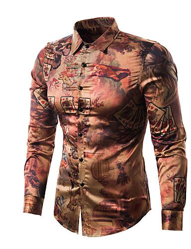 Homens Camisa Social - Bandagem Estampado d4dd674650468