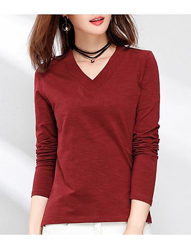 billige Dametopper-Tynn V-hals T-skjorte Dame - Ensfarget Gatemote Gul