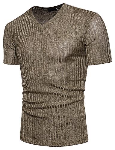 Ανδρικά T-shirt Βασικό - Βαμβάκι Μονόχρωμο Λαιμόκοψη V Πούλιες Μαύρο / Κοντομάνικο / Καλοκαίρι