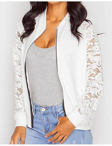 preiswerte Damen Bomberjacken-Damen Alltag Frühling Standard Jacke, Solide Rundhalsausschnitt Langarm Baumwolle Spitze Weiß / Schwarz