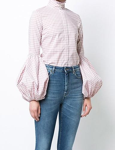 billige Skjorter til damer-Bomull Lanterne Erme Store størrelser Skjorte Dame - Ruter, Grunnleggende Aktiv Ut på byen Rosa