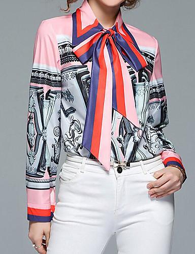 billige Skjorter til damer-Puffermer Skjortekrage Skjorte Dame - Fargeblokk, Trykt mønster Gatemote Grå / Snøring