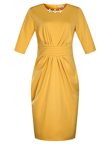 levne Pracovní šaty-Dámské Větší velikosti Dovolená Základní Sofistikované Štíhlý Pouzdro Šaty - Jednobarevné Délka ke kolenům