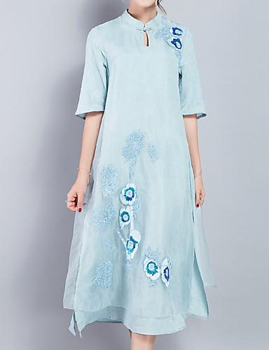 97fa2673c7eb9 Kadın's Büyük Bedenler Tatil Temel / Çin Stili Pamuklu A Şekilli Elbise -  Solid, Nakış Dik Yaka Midi 6593207 2019 – $35.69