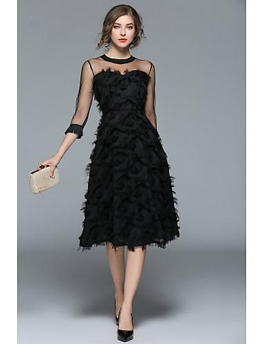 preiswerte StepsinWinter-A-Linie Schmuck Tee-Länge Tüll Kleid mit Federn / Pelzl durch LAN TING Express