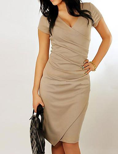 levne Pracovní šaty-Dámské Dovolená Základní Bavlna Štíhlý Bodycon Šaty - Jednobarevné, Patchwork Asymetrické Do V