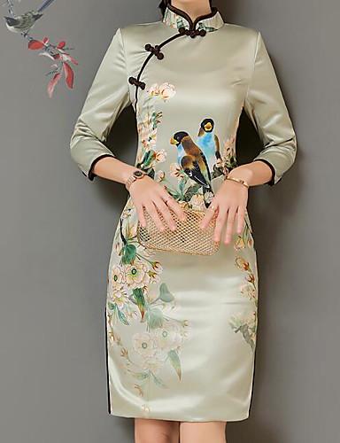 Dámské Čínské vzory Nahoře nabírané Pouzdro Šaty - Květinový fcfdeef442
