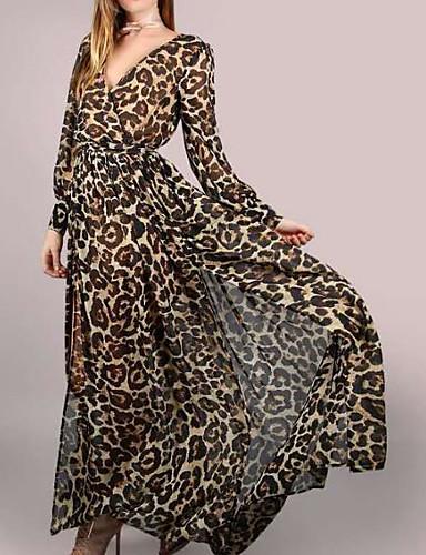 levne Maxi šaty-Dámské Párty Základní Bavlna Pouzdro Šaty - Leopard Maxi Do V