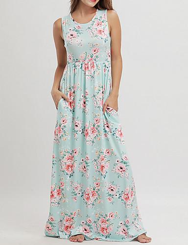 voordelige Maxi-jurken-Dames Boho Katoen Ruimvallend Wijd uitlopend Jurk - Bloemen, Print U-hals Maxi Hoge taille / Hoge taille
