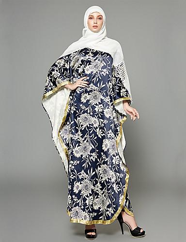 preiswerte Arabische Kleidung-Damen Ausgehen Boho / Anspruchsvoll Fledermaus Ärmel Lose Chiffon / Swing / Abaya Kleid - Rüsche / mit Schnürung / Druck, Blumen / Geometrisch Maxi Hohe Taillenlinie